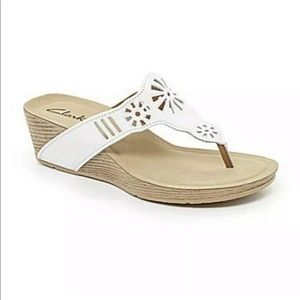 Clarks White Alto Seawalk Sandal Wedges Size 9.5M